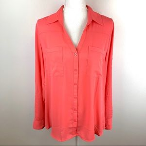 2/$25 Express Portofino Coral Button Down Blouse L